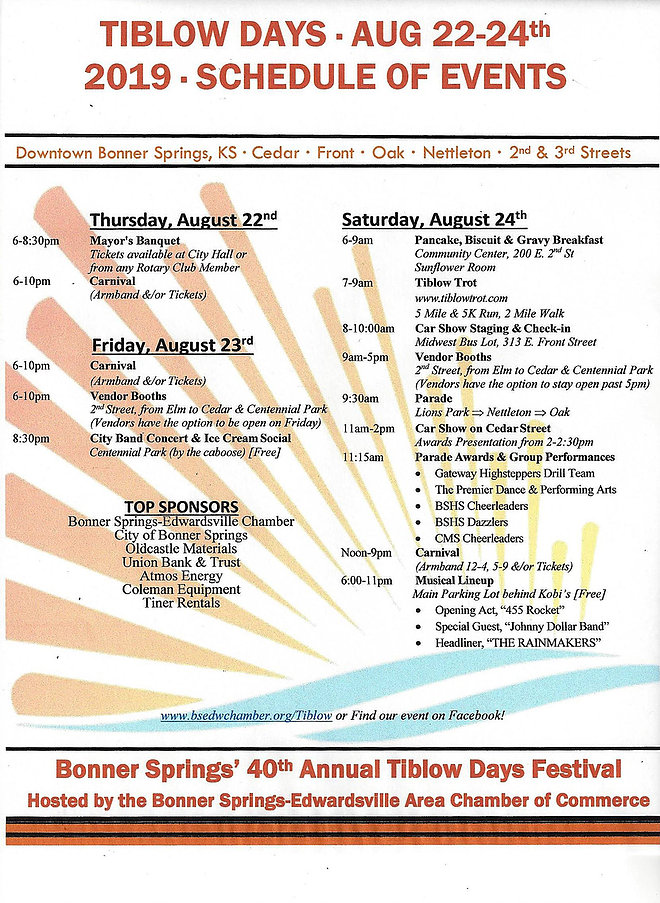 2019 Tiblow Days Schedule